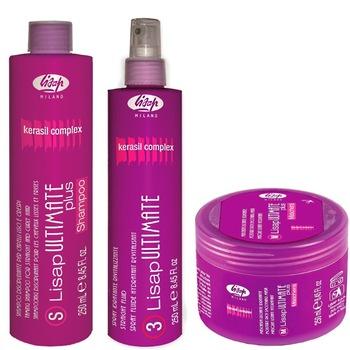 Набор дисциплинирующих средств для волос Lisap Ultimate: шампунь + маска + флюид